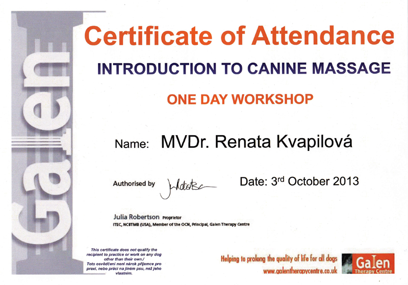 Seminář Introduction to canine massage - Julia Robertson (Galen Therapy Centre,UK)